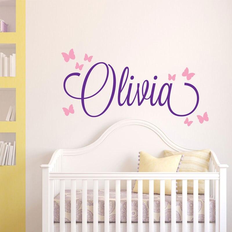 Crianças nome personalizado decalque da parede berçário deco nome personalizado adesivo de vinil decoração da parede da menina do bebê borboleta papel de parede N-27