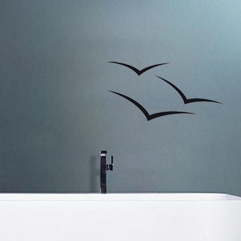 Seagull Bird Outline Bathroom Wall Stickers Bathroom Home Decoration Art Design Vinyl Glass Bathroom Stickers A40023