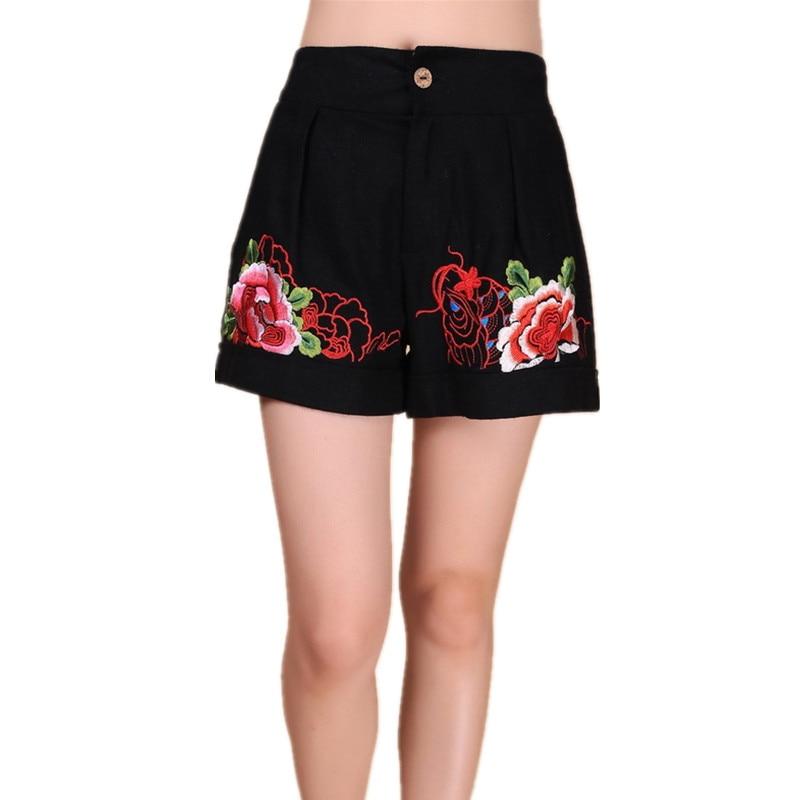 Sexy casual shorts moda feminina verão bermuda fino bordado do vintage senhoras curtas calças de corte mujer roupas