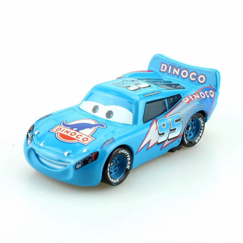 Disney Pixar coches azul Dinoco Rayo McQueen 1:55 escala fundición de aleación de Metal modelo de coche lindo juguetes para niños regalos