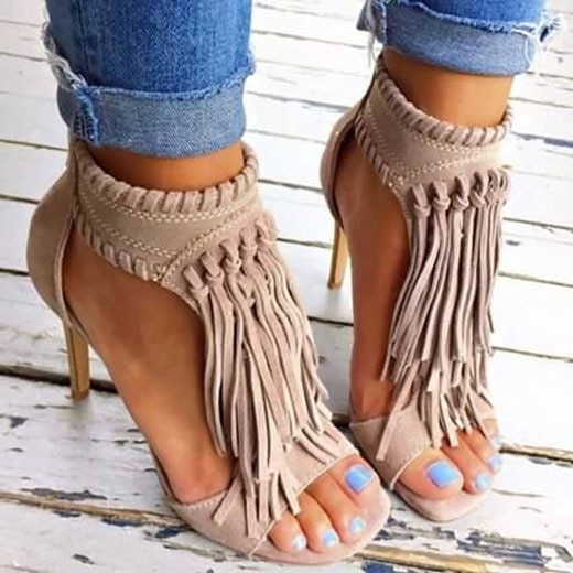 Women Tassels Bohemia Ankles Strap High Heels Sandals Shoes Ladies Gladiator Peep Toe Summer Sandals Shoes Zip Weave Size 34-43