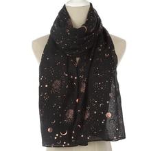 WINFOX-foulards à feuille dor pour femmes   Nouvelle mode, foulards noirs brillants en aluminium avec étoiles et lune pour femmes
