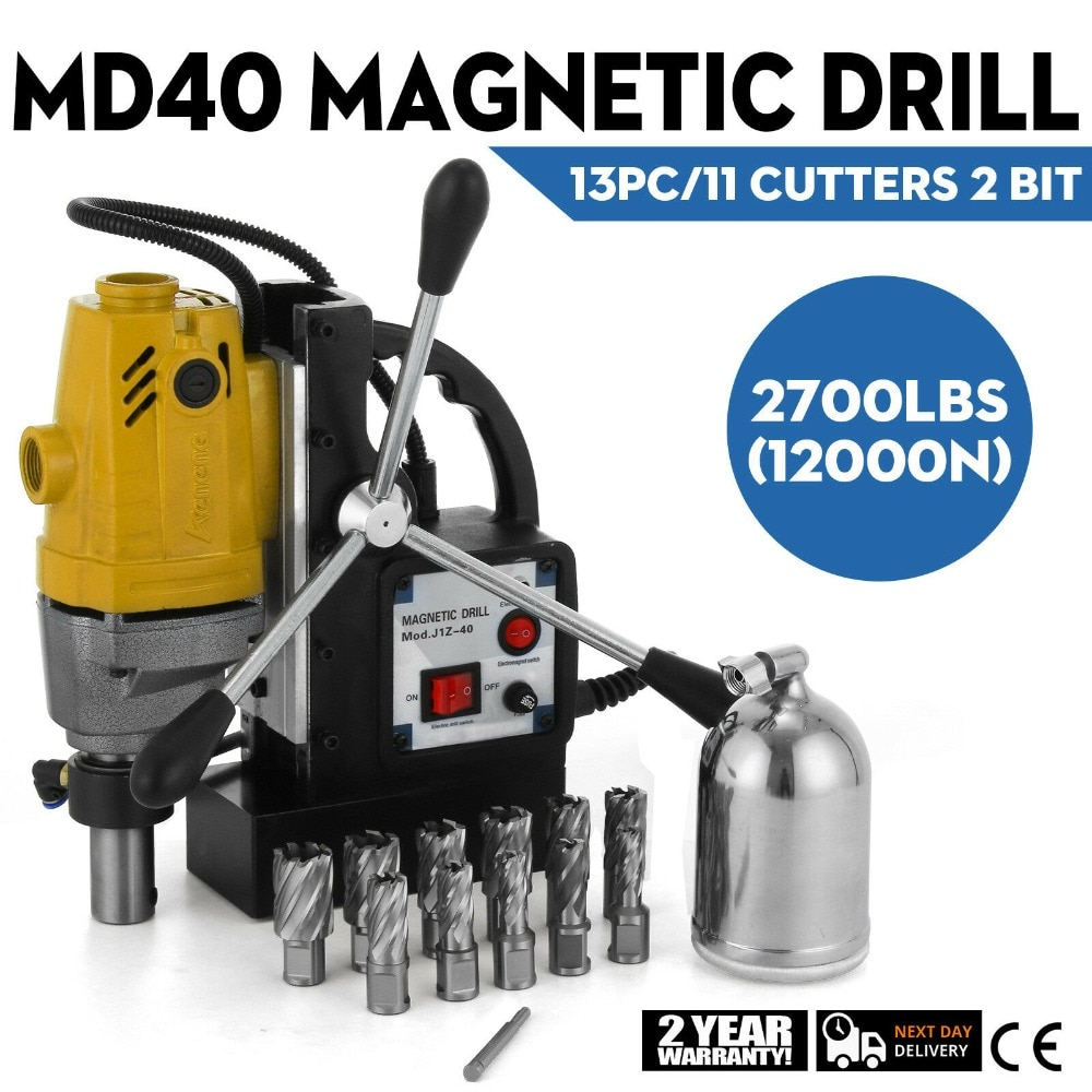 MD40 40mm 1100W Mag Drill Magnetic w/ 13 PC 1\\\