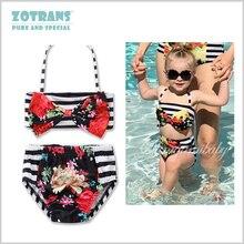 Summer Baby Swimsuit Fashion Floral Bow Designs Flower Beach Bikini Girls 2 piece set Swimwear for 1-2 Years children Swimming