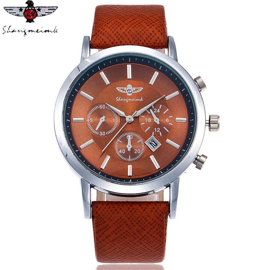 SHANGMEIMK Marca Hombres Reloj Calendario de La Moda de Lujo de Negocios Reloj de Cuarzo Correa de Cuero Ocasional Relojes de Pulsera Relogio masculino Caliente