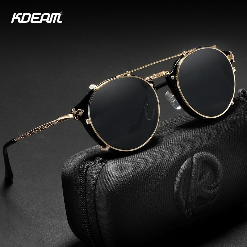 Мужские и женские ретро очки KDEAM, круглые солнцезащитные очки в стиле стимпанк с двойным слоем съемных линз и резными дужками в стиле барокко, UV400 с футляром|Мужские солнцезащитные очки|   | АлиЭкспресс