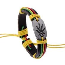 Bracelet jamaïque mauvaises herbes Rasta tressé chanvre Bracelets en cuir femmes bijoux Bracelets & Bracelets pour homme femme pulseira masculina