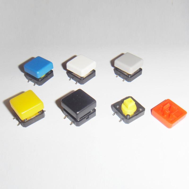 120 unids/lote 12*12*7,3mm botón táctil SMD con interruptores de tacto de tapa de colores 12x12mm
