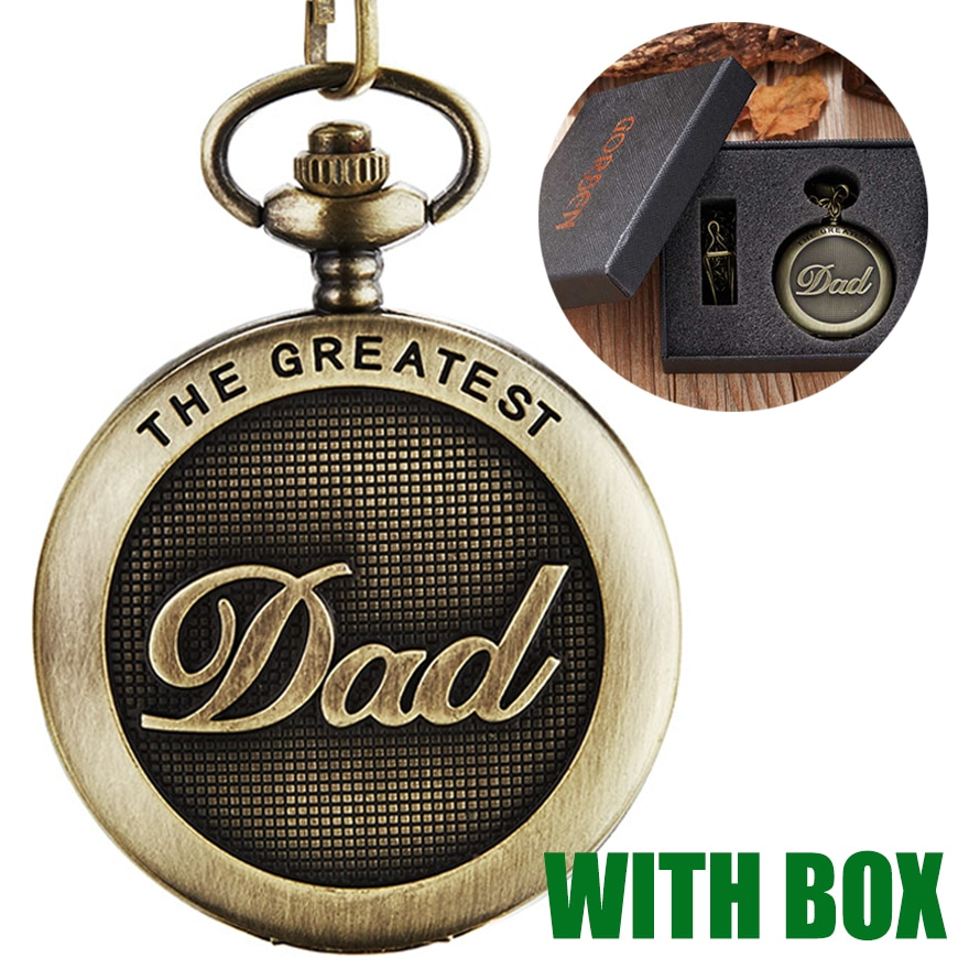 Лучшие карманные часы «папа» с подарочной коробкой, подарок на день папы, I LOVE YOU dad to Daddy, подарок на день рождения мужчин, Золотая бронзовая подвеска на цепочке