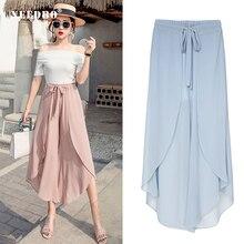 NEEDBO Long Skirts Womens Maxi Skirt Solid Chiffon Casual Loose Culottes High Waist Beach Women Skirts Fashion 2019 WP20850