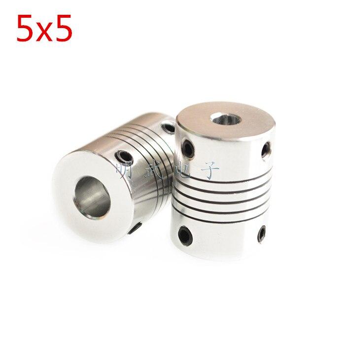 10 pcs YKS 5x5 milímetros 5mm Para 5mm Motor Jaw Eixo Engate Acoplamento Flexível OD 19 x 25mm Nova Marca