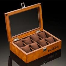 Top 8 fentes boîtes de montre en bois mode noir montre mallette de rangement avec serrure montre affichage boîte-cadeau bijoux coffrets cadeaux W033