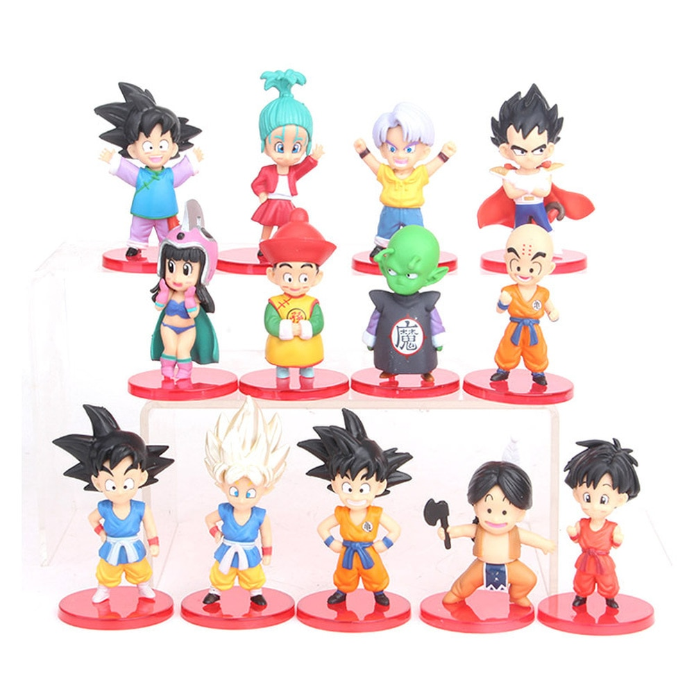 LoveCCD 13 unids/set de 8-9cm figuras de Dragon Ball Z hijo de Goku Gohan Goten Vegeta bañadores Bulma Pan Anime juguetes modelo J08 # NO