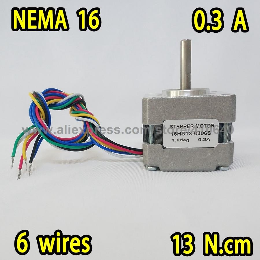 محرك متدرج 16HS13-0306S L 34 مللي متر Nema16 مع 1.8 deg 0.3 A 13 N.cm ، 6 أسلاك الرصاص ، Super Sales!