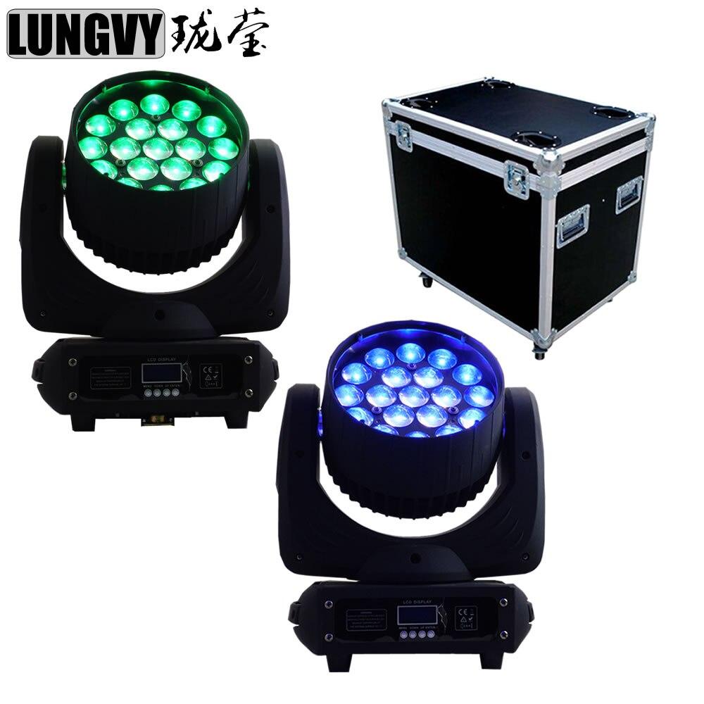 Envío gratis 2 unids/lote Paquete de caja de vuelo 19x12w Ojo de abeja RGBW 4IN1 Zoom LED luces con cabezales móviles equipo profesional de Dj