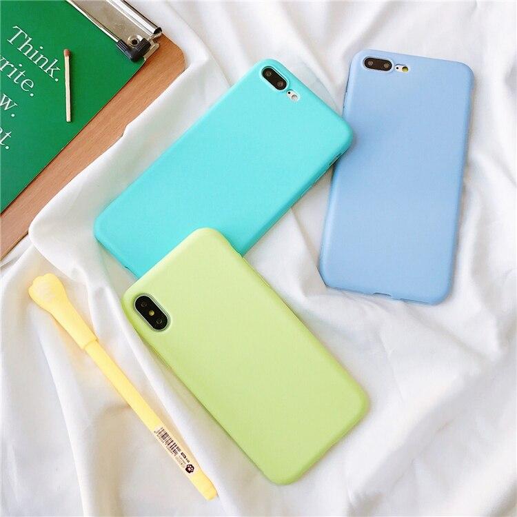 De Lujo espalda suave de Color mate de casos para iPhone 7 8 X caso a prueba de golpes a prueba de TPU funda de silicona para iPhone 6 6s Xr Xs Max caso