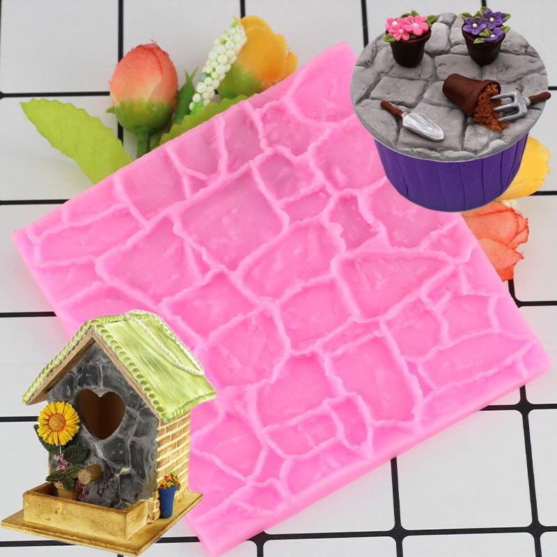 DIY de pared de piedra de la línea, borde de silicona para tartas molde para chocolate fondant herramientas de Decoración de Pastel Galleta de moldes para la cocción