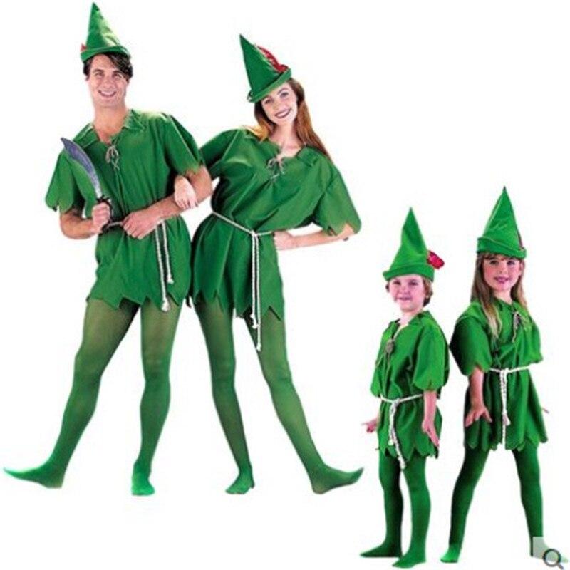 2018 Cosplay Peter Pan Costume Child Kids Cartoon Movie Costume Sexy Women Girls Boys Peter Pan Costume
