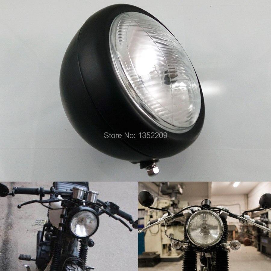 Motocicleta negro redondo Metal 12V Retro halógeno frontal faro se adapta a Honda CG125 GN125 Harley Cafe Racer personalizado