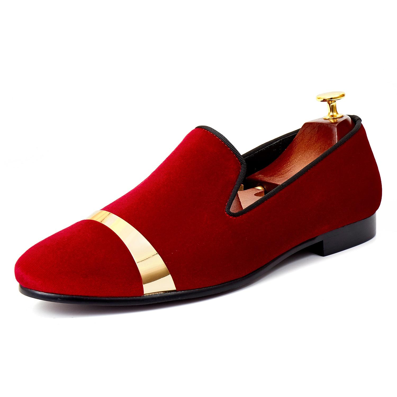 Harpelunde الذهب لوحة الرجال فستان أحذية الأحمر المخملية أحذية لوفر النعال المخملية اليدوية حجم 7-14