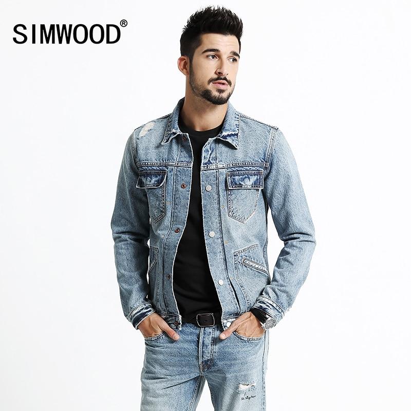 Мужская джинсовая куртка SIMWOOD, модная приталенная рваная куртка из хлопка с карманами, модель NK017013 на осень и зиму, 2019