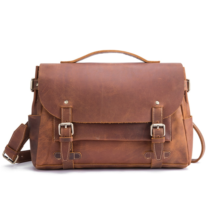 Maletines para hombre, de cuero auténtico tipo bandolera bolso de hombro, moda de negocios, Ipad, portátil, de 15 pulgadas, bolsa de mensajero, cubierta para regalo, viaje