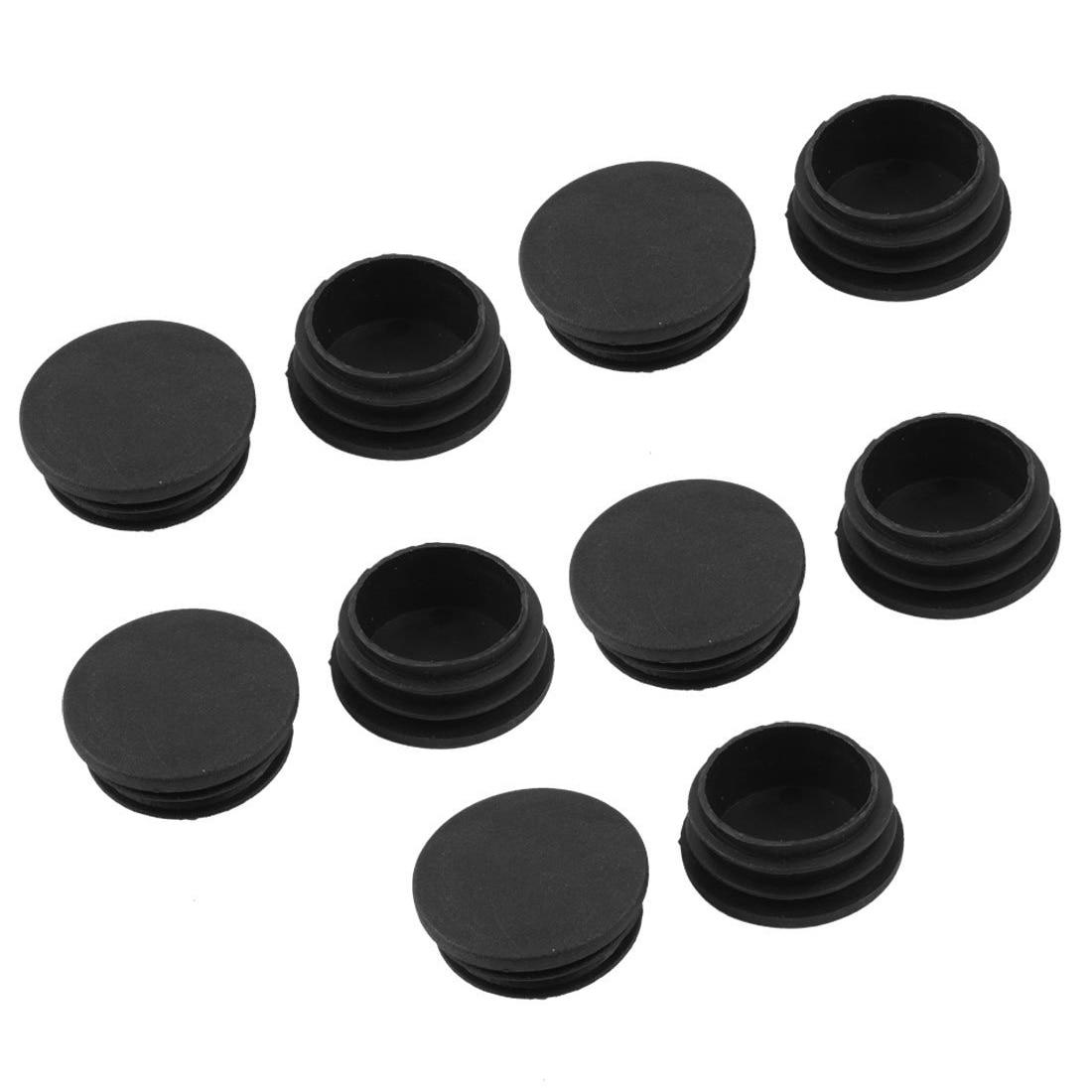 10 x plástico negro 38mm diámetro tubo redondo tapones de inserción cubiertas