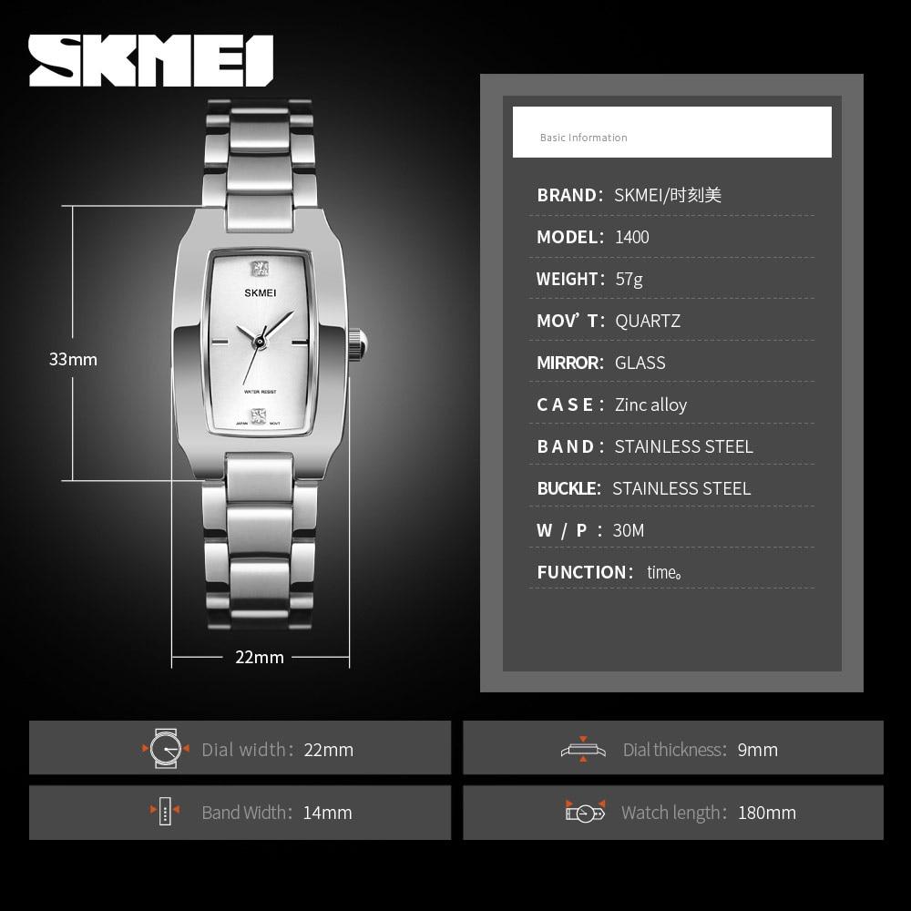 SKMEI Quartz Watch Fashion Thin Watches Ladies Casual Dress Luxury Silver Ladies Rhinestone Waterproof Relogio Feminino 1400 enlarge