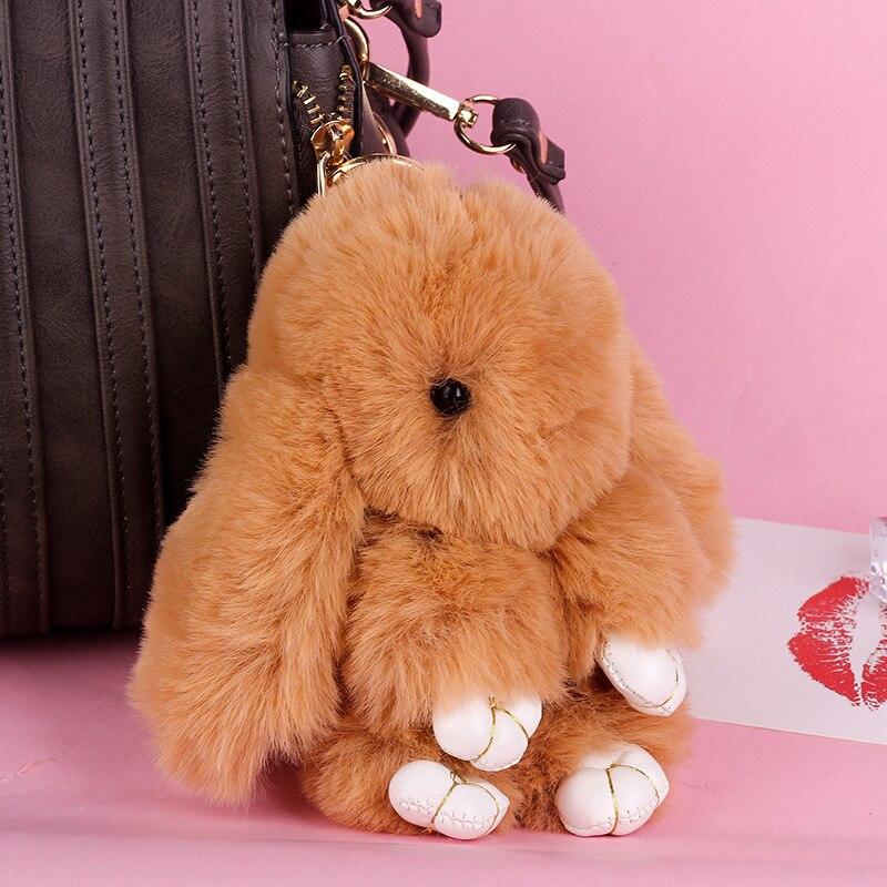 Мода 18 см милый плюшевый кролик брелок Рекс искусственный кроличий мех помпон брелок для женщин сумка Подвеска автомобиль пушистый мех пом...