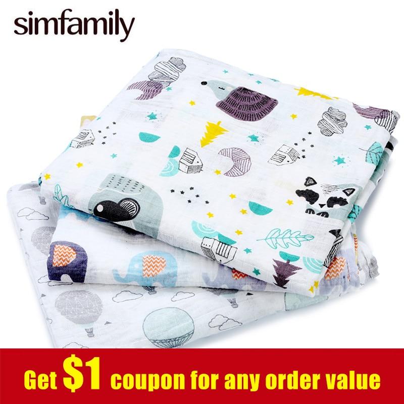 [Simfamily] 1pc muselina 100% de algodón recién nacido pañales de deken de bebé gasa bebé mantas de sleepsack cobija utilizable swaddleme manta cobertor