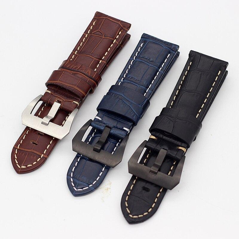 Correa de reloj de piel de becerro genuina gruesa y sólida 22mm 24mm 26mm para pulsera PAM111 PAM441 hombres y mujeres
