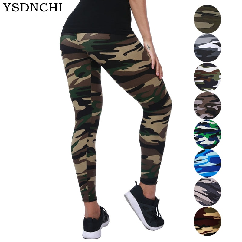 YSDNCHI 2021 Camouflage Womens for Leggins Graffiti Style Slim Stretch Trouser Army Green Leggings Deportes Pants K085