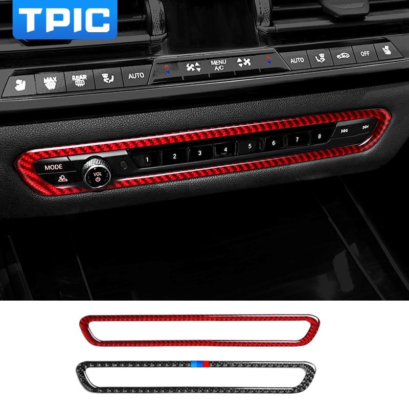 Decoración de coche TPIC para BMW G30 2019 X5 Series, marco de control Central de fibra de carbono, pegatina embellecedora de Panel, accesorios de decoración inteligente