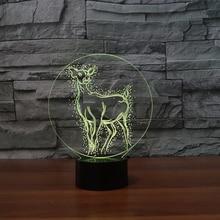 7 colores luz nocturna cabecera 3D lindo Animal ciervo LED lámpara de mesa iluminación de dormir para bebé niños Año Nuevo Patronus accesorio de iluminación decoración