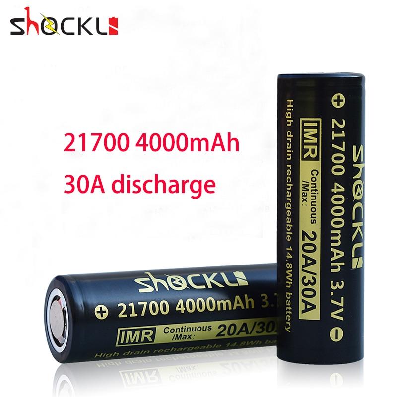 2 шт. shockli 21700 4000 мАч литий-ионная аккумуляторная батарея 30A Высокая дренажная 21700 литиевая батарея для 21700 фонарей мод
