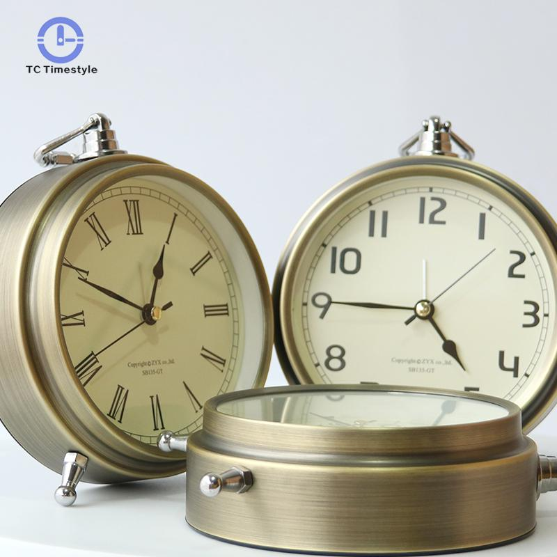 Retro Alarm Clock Metal Bronze High-definition Digital Mute Seat Hanging Dual-use Home Decoration Bedroom Bedside Clocks