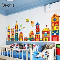 large castle cartoon wall sticker for kids room living room kindergarten baby nursery color building decal waterproof wall decor
