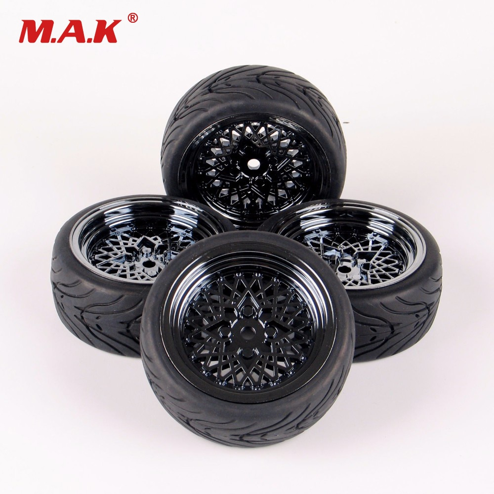 Per-sale rubber tires & wheel for HSP HPI RC 1:10 flat racing on road car 4pieces/set parts accessory