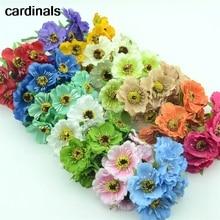 Bouquet de pavot artificiel réel Touch   Petites fleurs en soie de haute qualité, pour mariage, décoration couronne de mariage en bricolage, 6 pièces/lot