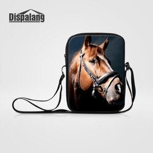 Dispalang Men Women Mini Messenger Bags Horse Animal Print Cross body Bags Casual Children Shoulder Bag Student Boys Travel Bags