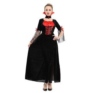 HUIHONSHE Female Vampire Costume Halloween Ghost Bride Masquerade Party Costumes Black   Long Dress Women Witch Queen Cosplay
