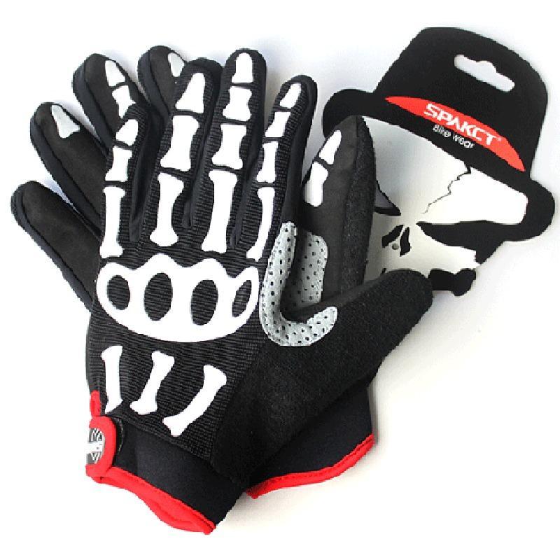 Guantes de ciclismo de dedo completo Skull Spakct, guantes de silicona a...
