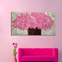 free shipping high quality knife oil painting on canvas 100 pink flower decoration home art abstract modern abstract painting