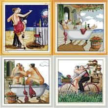 Kits de points de croix estampillés et comptés   Série pleine vie Tango, ensembles de broderie imprimés DMC