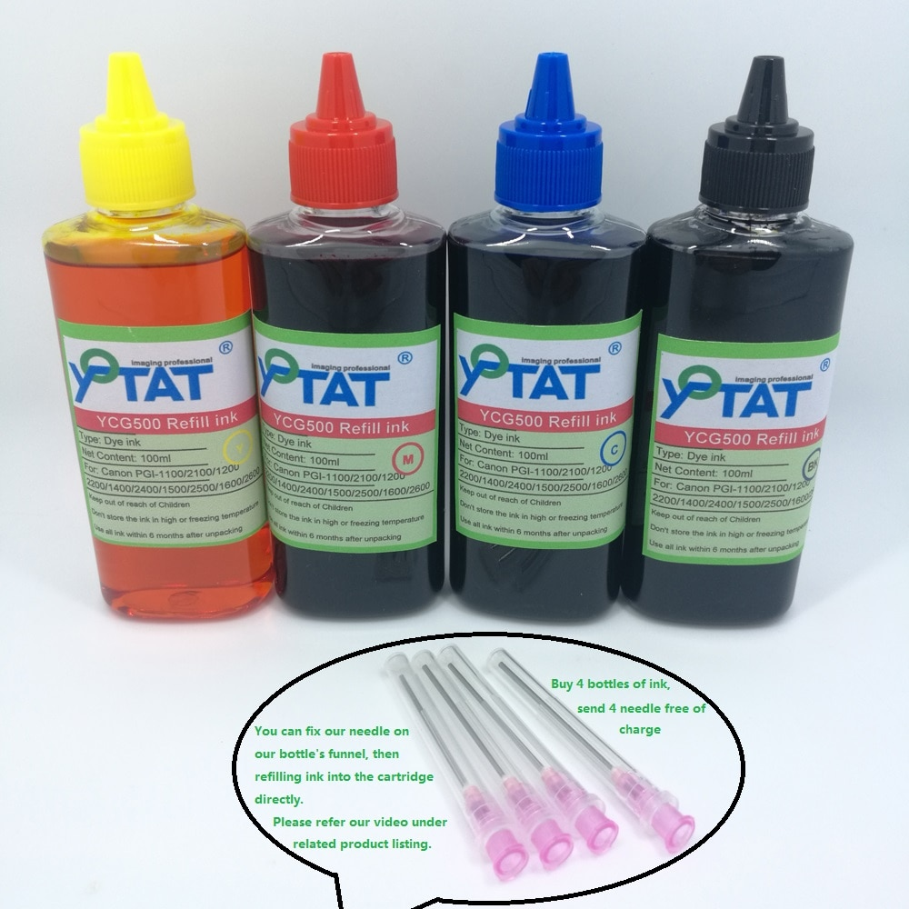 YOTAT 4*100ml Refill Dye Ink Kits for CANON PGI-1400 PGI-2400 PGI-1600 PGI-2600 PGI-2700 PGI-2800 PGI-2900