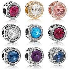 Silver Color Beads Beautifully Shine Big Crystal Round Bead For 925 Original Pandora Charm Bracelets & Bangles Jewelry