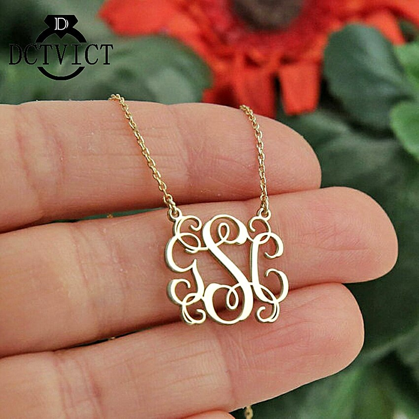 Personalized Rose Gold Monogram Friendship Necklace Stainless Steel Name Initials Pendant Women Collares Vintage Bijoux