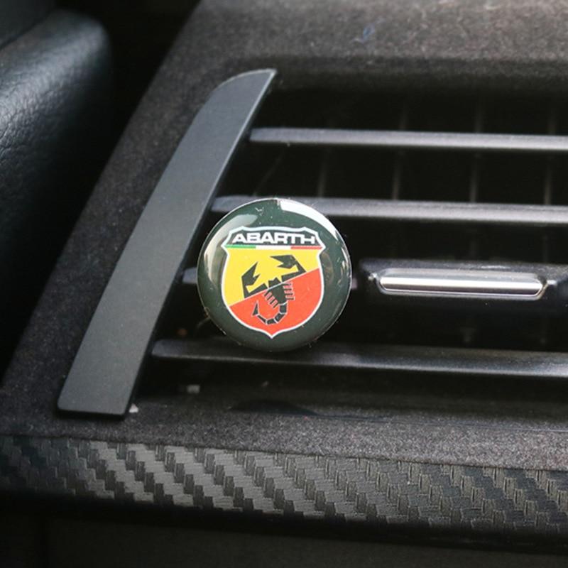 Aromatizador de ar condicionado para automóveis, purificador para ar condicionado forfiat 500 punto bravo stilo panda, logotipo interior do carro