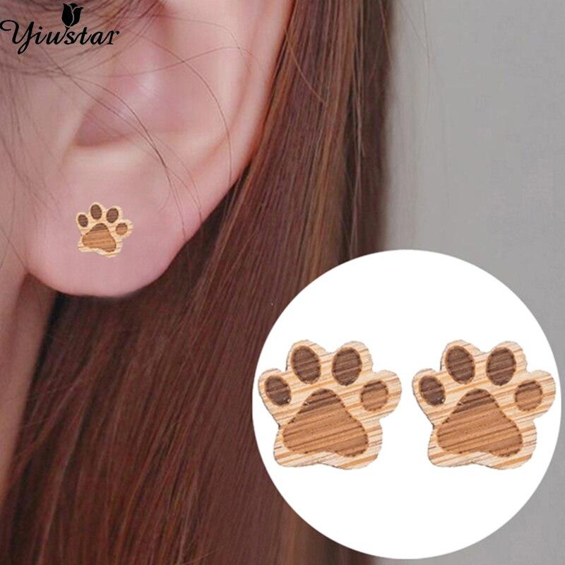 Yiustar lindo gato y perro imprimir pendientes pequeños pendientes de madera para mujeres Bijoux Piercing joyería Boho pequeño Animal Oorbellen