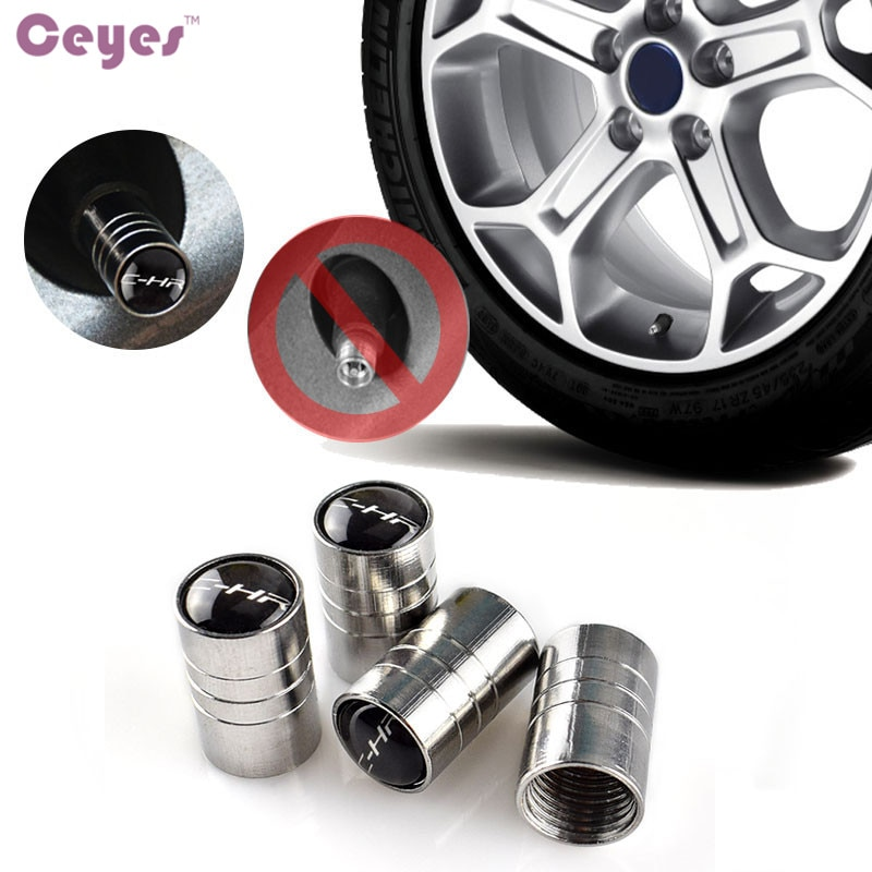 Ceyes Car Styling JDM cubierta de neumático de rueda de coche para Toyota C-HR Auris CHR tapas de válvulas automáticas emblemas accesorios de estilo de coche